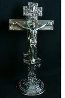 Крест настольный металлический (059), цвет серебро