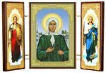 Складень МДФ (12), тройной, Ксения Петербургская с архангелами, 13 Х 8 см.