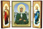 Складень МДФ (25), тройной, Ксения Петербургская с архангелами, 21 Х 12 см.