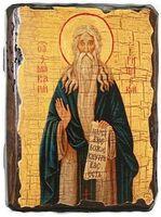 Макарий Египетский Великий, икона под старину, сургуч (13 Х 17)
