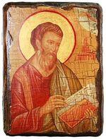 Евангелист Матфей, икона под старину, сургуч (13 Х 17)
