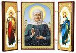 Складень МДФ (11), тройной, Матрона Московская с архангелами, 13 Х 8 см.