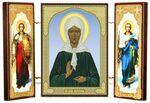 Складень МДФ (24), тройной, Матрона Московская с архангелами, 21 Х 12 см.
