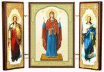 Складень МДФ (5), тройной, Нерушимая стена Б.М. с архангелами, 13 Х 8 см.