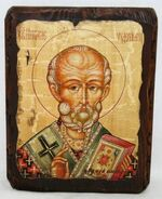 Николай Чудотворец, икона под старину, сургуч (13 Х 17)
