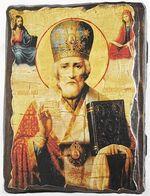 Николай Чудотворец в митре., икона под старину, сургуч (13 Х 17)