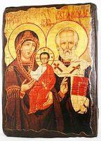 Николай и Богородица, икона под старину, сургуч (13 Х 17)