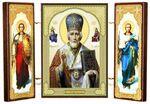 Складень МДФ (19), тройной, Николай Чудотворец с архангелами, 21 Х 12 см.