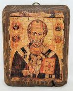 Николай Чудотворец с Предстоящими, икона под старину, сургуч (13 Х 17)