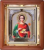 Пантелеймон. Малая аналойная икона, прямой киот, риза, (17 Х 20)