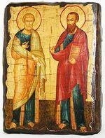Петр и Павел (рост), икона под старину, сургуч (13 Х 17)