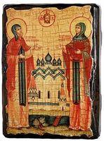 Петр и Феврония, икона под старину, сургуч (13 Х 17)