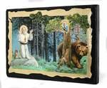 Серафим Саровский (моление на камне), икона синайская, 13 Х 17