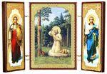 Складень МДФ (7), тройной, Серафим Саровский с архангелами, 13 Х 8 см.
