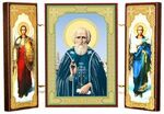 Складень МДФ (8), тройной, Сергей Радонежский с архангелами, 13 Х 8 см.
