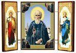 Складень МДФ (21), тройной, Сергей Радонежский с архангелами, 21 Х 12 см.