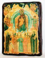 Собор Богородицы, икона под старину, сургуч (13 Х 17)