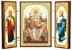 Складень МДФ (9), тройной, Спиридон Тримифунтский с архангелами, 13 Х 8 см.