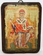 Спиридон Тримифунтский (трон), икона под старину, сургуч (13 Х 17)