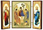 Складень МДФ (23), тройной, Троица с архангелами, 21 Х 12 см.