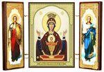 Складень МДФ (4), тройной, Неупиваемая Чаша Б.М. с архангелами, 13 Х 8 см.