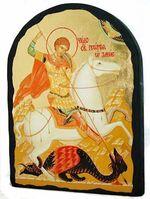 Георгий, убивающий змея, икона синайская, арка, 17 Х 23