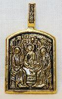 Образок нательный литой (9) Троица, цвет золото чернение