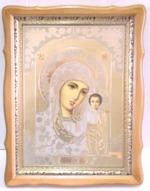 Казанская Б.М., светлый фигурный киот, с багетом. Храмовая икона (44 Х 57)