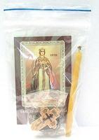 Екатерина. Святая великомученица. Набор для домашней молитвы (Zip-Lock). Лик, молитва, свечка, ладан, крестик