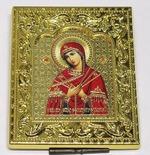 Умягчение злых сердец Б.М. Икона настольная малая, золотой оклад, прямоуг., 8 Х 6,5 см.