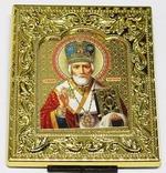 Николай Чудотворец. Икона настольная малая, золотой оклад, прямоуг., 8 Х 6,5 см.
