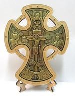 Крест настольный деревянный (12) фигурный на подставке