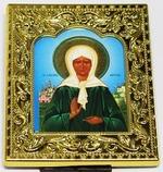 Матрона Московская. Икона настольная малая, золотой оклад, прямоуг., 8 Х 6,5 см.
