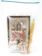 Варвара Великомученица (от внезапной смерти). Набор для домашней молитвы (Zip-Lock). Лик, молитва, свечка, ладан, крестик