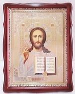Господь Вседержитель, тёмный фигурный киот, с багетом. Храмовая икона (44 Х 57)