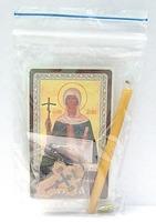 Нина. Святая равноапостольная. Набор для домашней молитвы (Zip-Lock). Лик, молитва, свечка, ладан, крестик