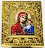 Казанская Б.М. Икона настольная малая, золотой оклад, прямоуг., 8 Х 6,5 см.