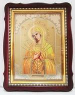 Умягчение злых сердец Б.М., тёмный фигурный киот, с багетом. Храмовая икона (44 Х 57)