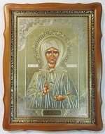Матрона Московская, светлый фигурный киот, с багетом. Храмовая икона (44 Х 57)