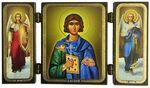 Складень МДФ (78), тройной Валерий Св.Муч., с архангелами, 13 Х 7,5 см.