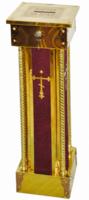 Кружка для сбора пожертвований, напольная квадратная, латунь, дерево, ДСП, цвет бордовый