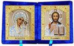Складень бархат (Б-21-1-СБО) цвет синий, средний, белые одеяния, лик 15х18