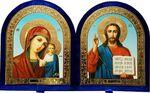 Складень бархат, арочный (Б-12-В-1-СГФ) цвет синий, голубой фон, лик 15Х18