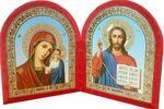 Складень бархат, арочный (Б-12-ГЛ-1-КГФ) цвет красный, голубой фон, лик 15Х18