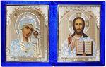 Складень бархат (Б-1012-ГЛ-1-СБО) цвет синий, белое одеяние, лик 10Х12