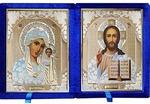 Складень бархат (Б-1518-ВМ-1-СБО) цвет синий, белое одеяние, вынимающийся лик 15Х18