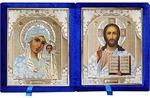 Складень бархат (Б-1012-ВМ-1-СБО) цвет синий, белое одеяние, вынимающийся лик 10Х12