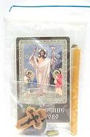 Воскресение Христово. Набор для домашней молитвы (Zip-Lock). Лик, молитва, свечка, ладан, крестик