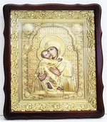 Владимирская Б.М.. Храмовая икона в фигурном киоте, в ризе, с багетом, 38 Х 44