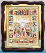 Собор  Новомучеников с житием, в фигурном киоте, с багетом. Храмовая икона (43 Х 50)